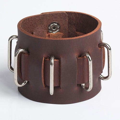 brown karmic steel genuine leather wristbands with stainless steel adornments