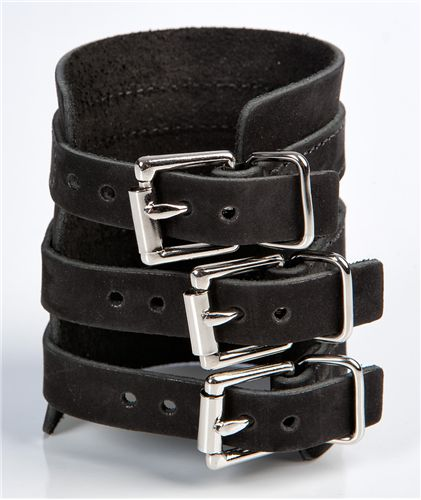TRIPLE THREAT | Black Leather Wristband