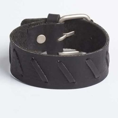 TREADED | Multicolored Black & Brown Leather Wristband