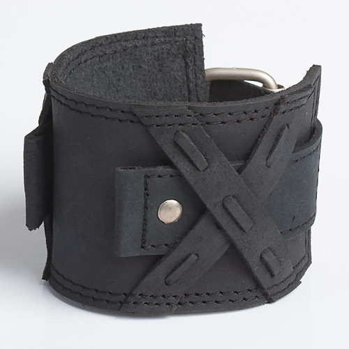 cool censor black leather watch band