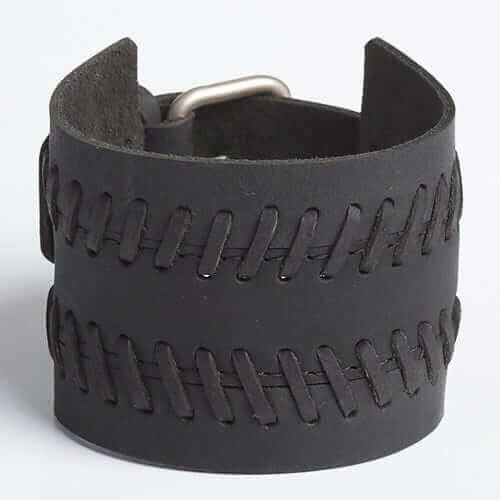 TREAD THREAD | Black or Brown Leather Wristband