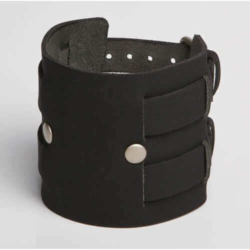 fierce black leather wristband with two silver pins