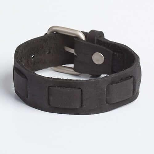 mens classy black leather wristband