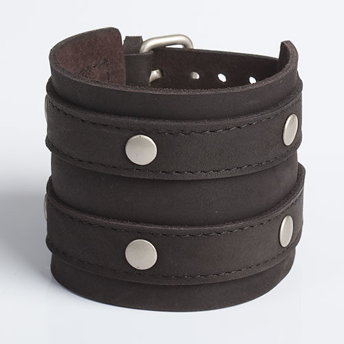 Leather-Wristband-Black