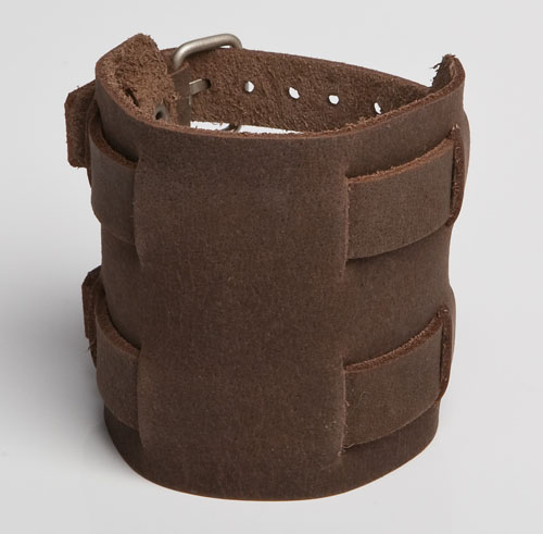 Leather-Wristband-Brown-117-Front