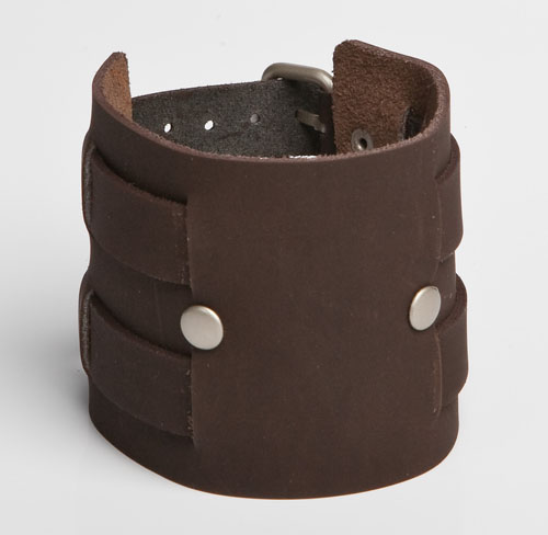PINNED DOUBLE OVERPASS | Black or Brown Leather Wristband