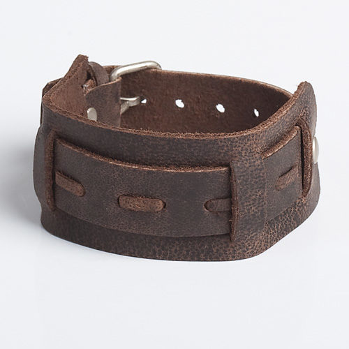 brown straight stitch leather wristband