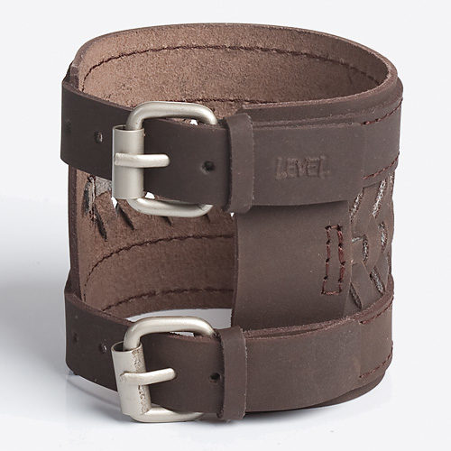 TREAD THREAD   Black or Brown Leather Wristband