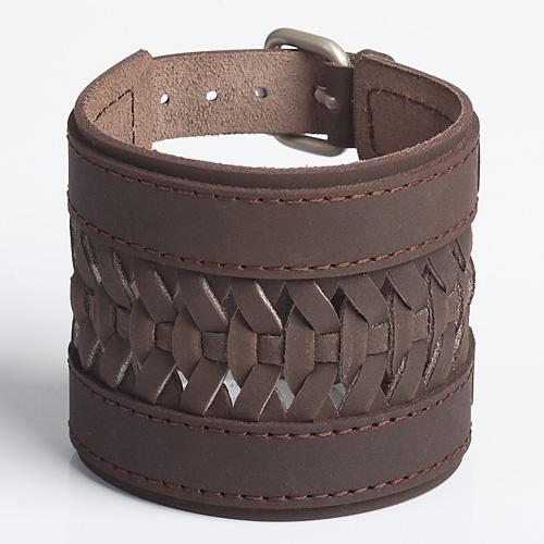 WESTERN BRAID   Brown or Tan Leather Wristband